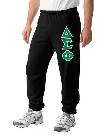 Delta Sigma Phi Sweatpants with Sewn-On Letters