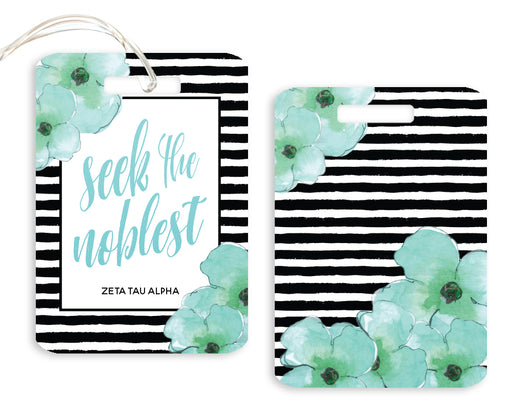 Zeta Tau Alpha Floral Motto Luggage Tag
