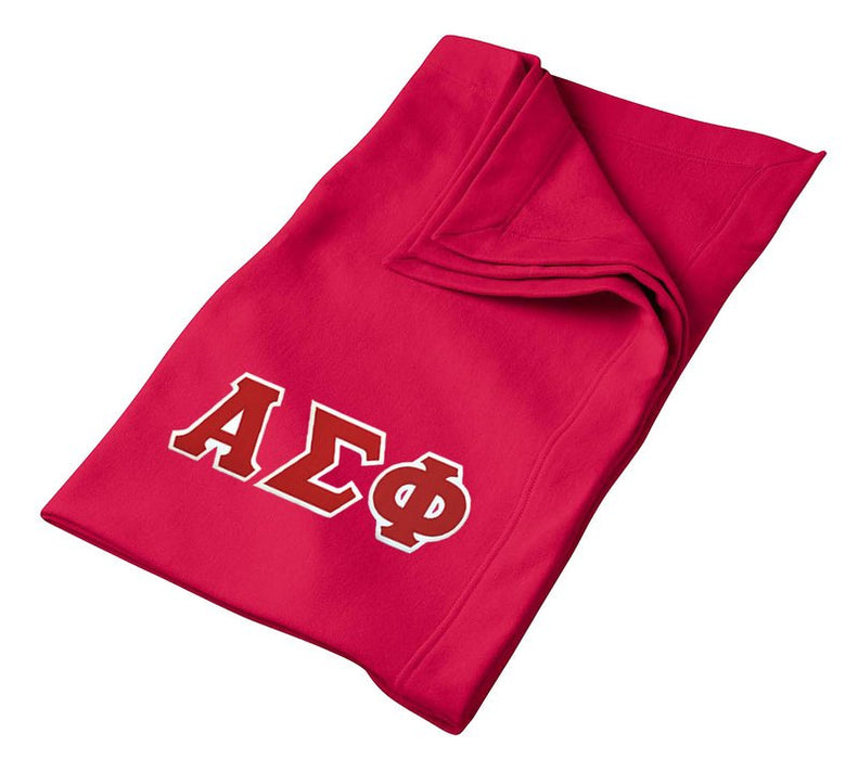 Alpha Sigma Phi Greek Twill Lettered Sweatshirt Blanket