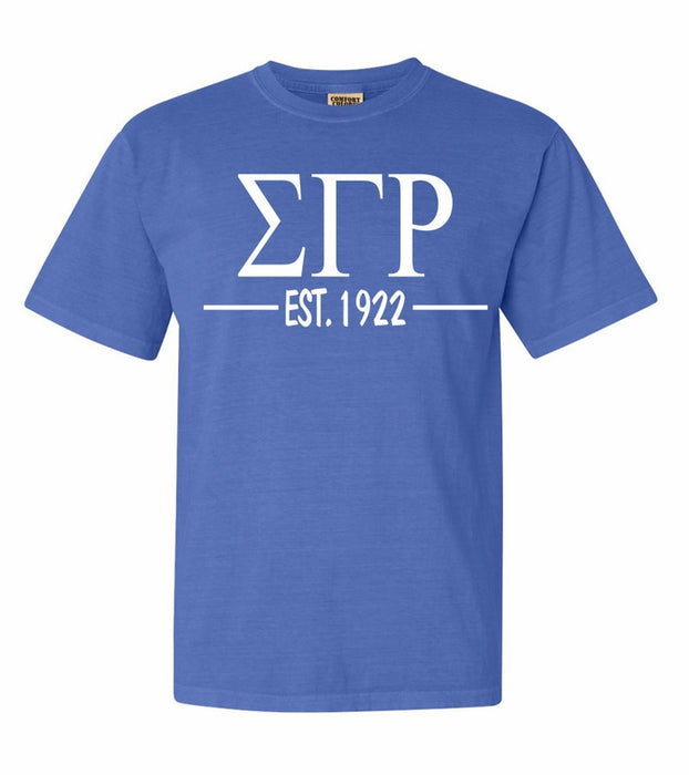 Sigma Gamma Rho Comfort Colors Established Sorority T-Shirt