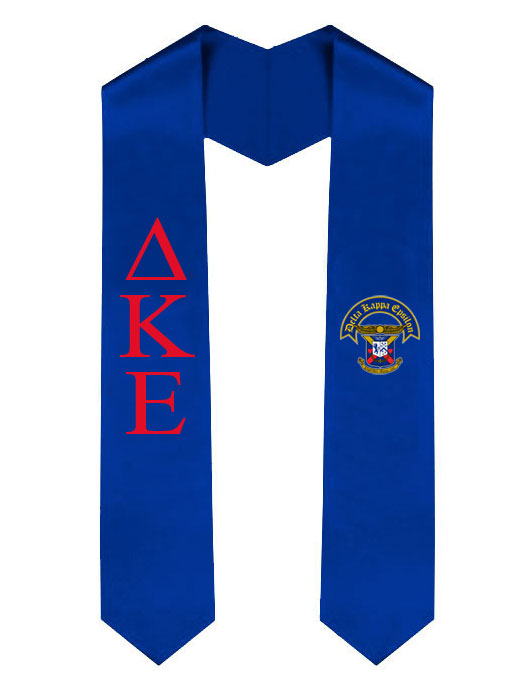 Delta Kappa Epsilon Lettered Graduation Sash Stole with Crest