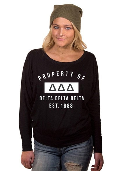 Delta Delta Delta Property of Flowy Long Sleeve Off Shoulder Tee