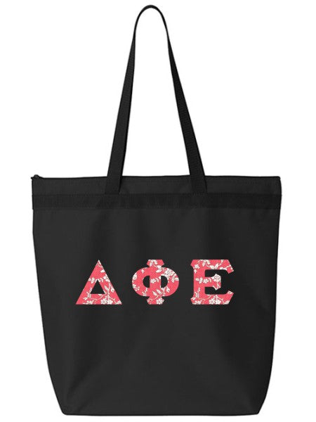 Delta Phi Epsilon Large Zippered Tote Bag with Sewn-On Letters