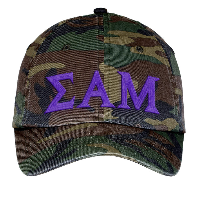 Sigma Alpha Mu Letters Embroidered Camouflage Hat