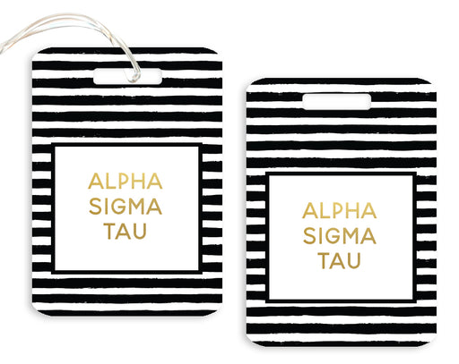 Alpha Sigma Tau Gold Striped Luggage Tag