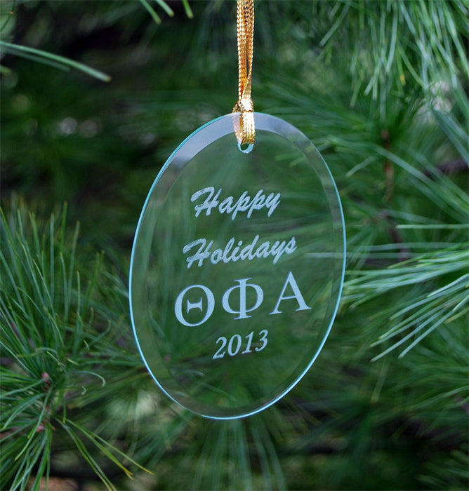 Theta Phi Alpha Engraved Glass Ornament