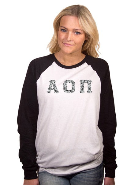 Alpha Omicron Pi Long Sleeve Baseball Shirt with Sewn-On Letters