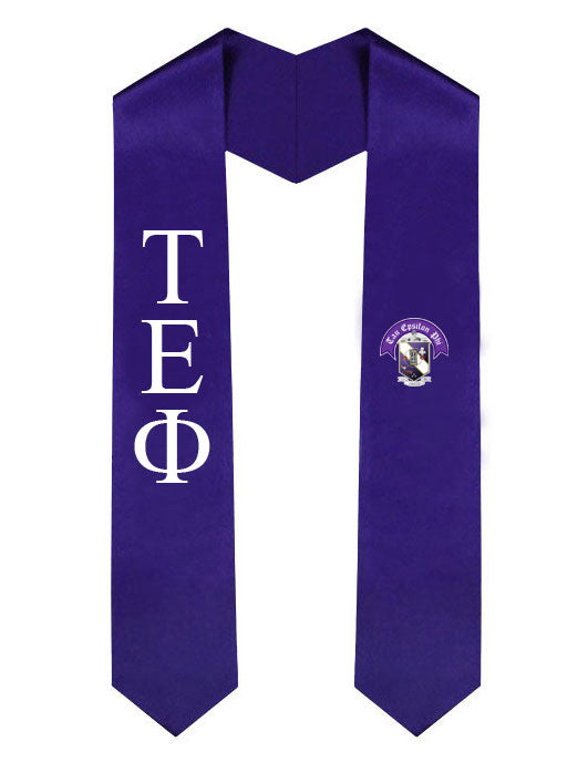 Tau Epsilon Phi Lettered Graduation Sash Stole with Crest
