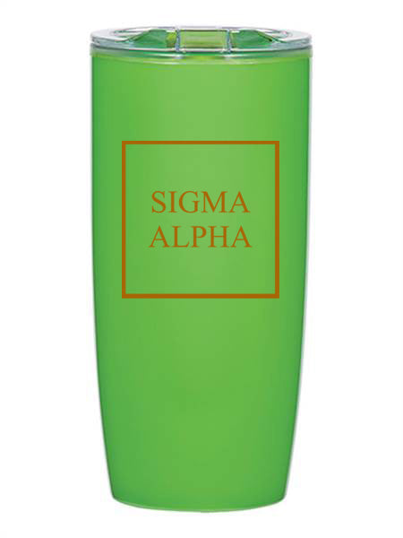 Sigma Alpha Box Stacked 19 oz Everest Tumbler