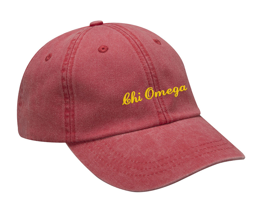 Chi Omega Cursive Embroidered Hat