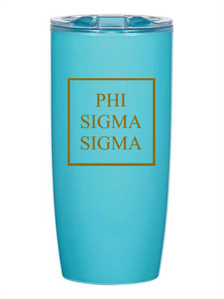 Phi Sigma Sigma Box Stacked 19 oz Everest Tumbler