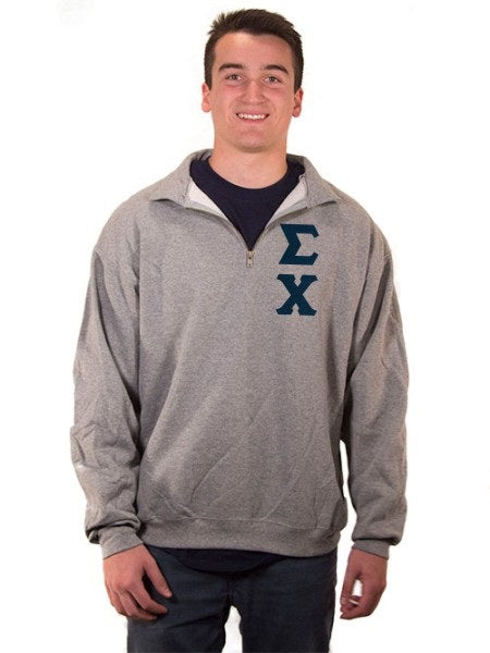 Sigma Chi Quarter-Zip with Sewn-On Letters