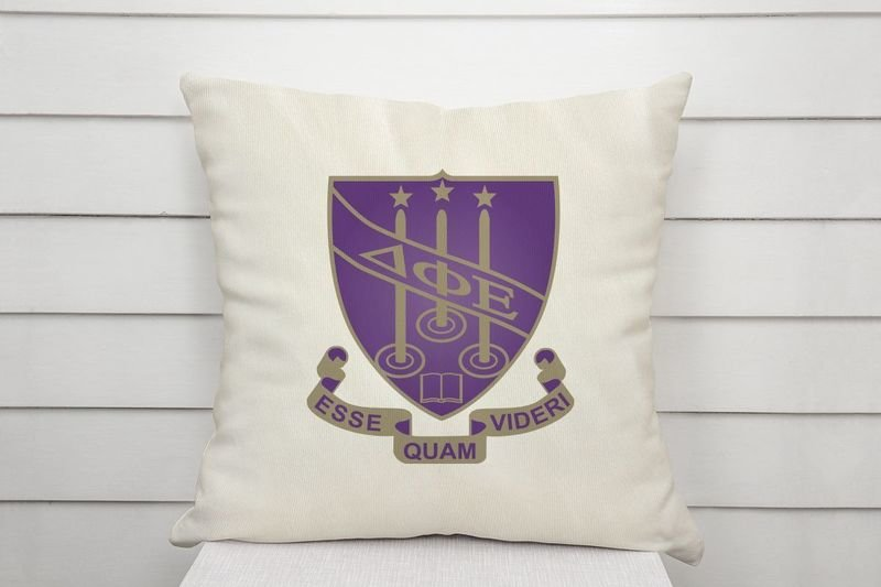 Delta Phi Epsilon Linen Shield Throw Pillow