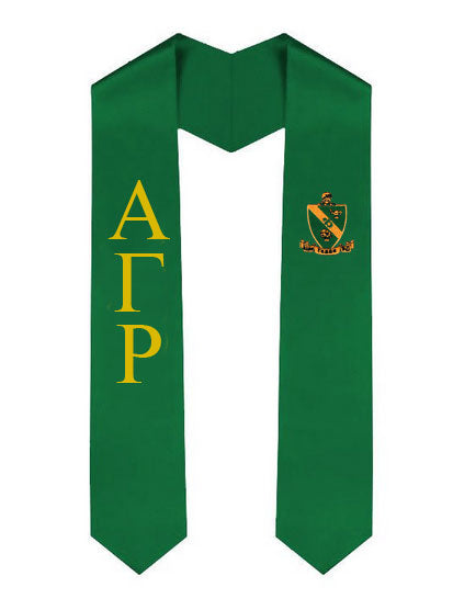 Alpha Gamma Rho Lettered Graduation Sash Stole with Crest