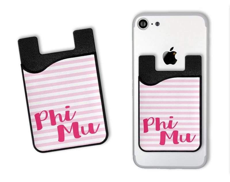 Phi Mu Sorority Stripes Caddy Phone Wallet