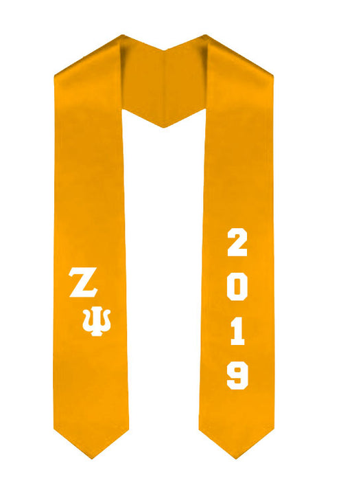 Zeta Psi Slanted Grad Stole with Letters & Year