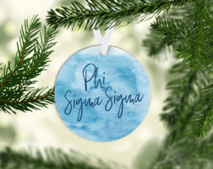 Phi Sigma Sigma Round Acrylic Watercolor Ornament