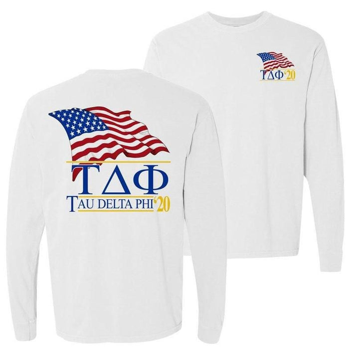 Tau Delta Phi Patriot Flag Comfort Colors Long Tee