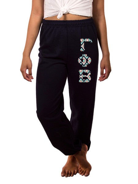 Gamma Phi Beta Sweatpants with Sewn-On Letters