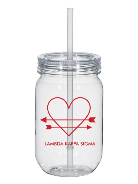 Lambda Kappa Sigma Heart Arrows Name 25oz Mason Jar