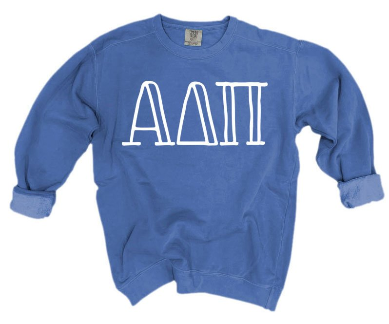 Alpha Delta Pi Comfort Colors Greek Letter Sorority Crewneck Sweatshirt