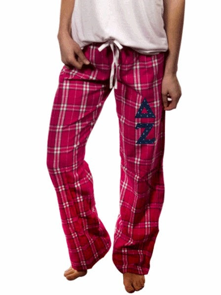 Delta Zeta Pajama Pants with Sewn-On Letters