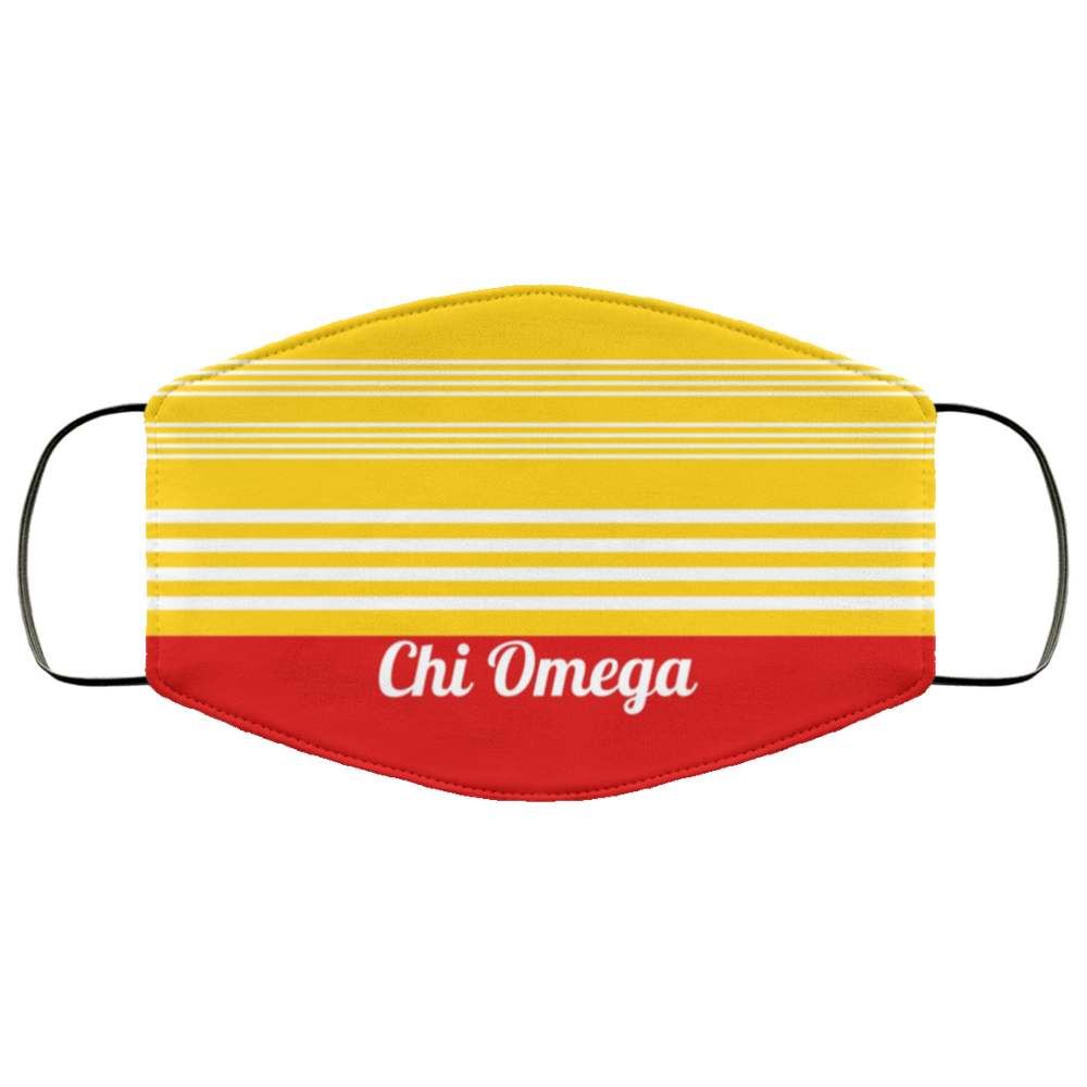 Chi Omega Two Tone Stripes Face Mask Chi Omega Two Tone Stripes Face Mask