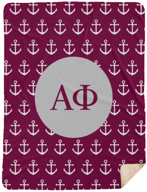 Alpha Phi Anchor Sherpa Blanket - 60x80