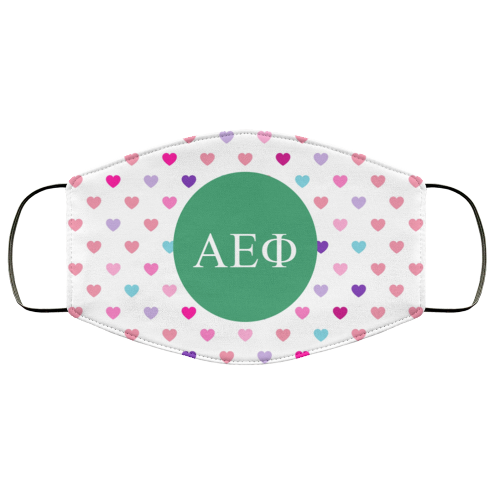Alpha Epsilon Phi Hearts Face Mask Alpha Epsilon Phi Hearts Face Mask