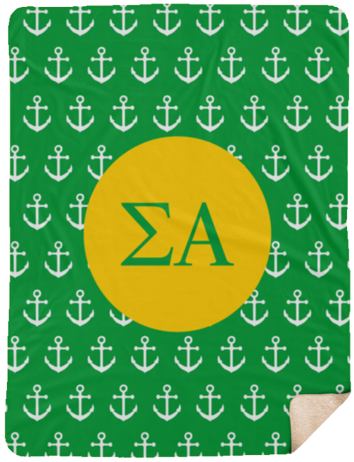 Sigma Alpha Anchor Sherpa Blanket - 60x80