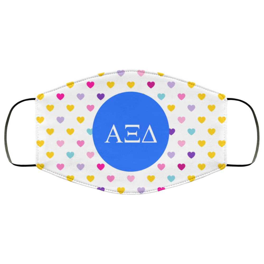 Alpha Xi Delta Hearts Face Mask Alpha Xi Delta Hearts Face Mask