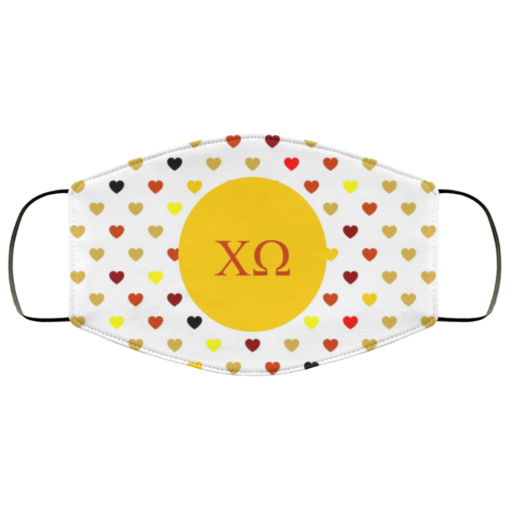 Chi Omega Hearts Face Mask Chi Omega Hearts Face Mask