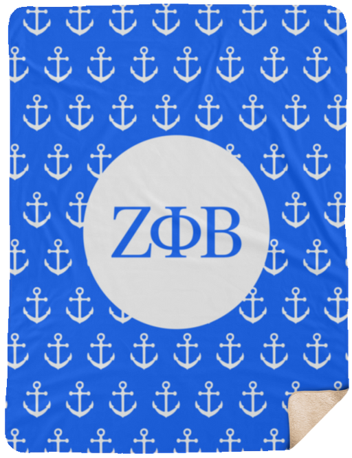 Zeta Phi Beta Anchor Sherpa Blanket - 60x80