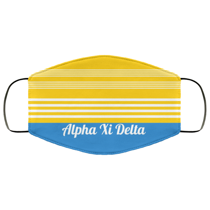 Alpha Xi Delta Two Tone Stripe Face Mask Alpha Xi Delta Two Tone Stripe Face Mask