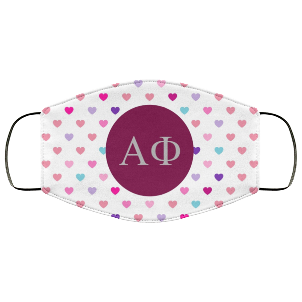 Alpha Phi Hearts Face Mask Alpha Phi Hearts Face Mask