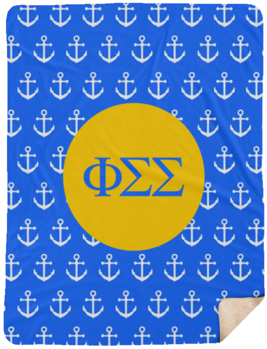 Phi Sigma Sigma Anchor Sherpa Blanket 60x80 Phi Sigma Sigma Anchor Sherpa Blanket - 60x80