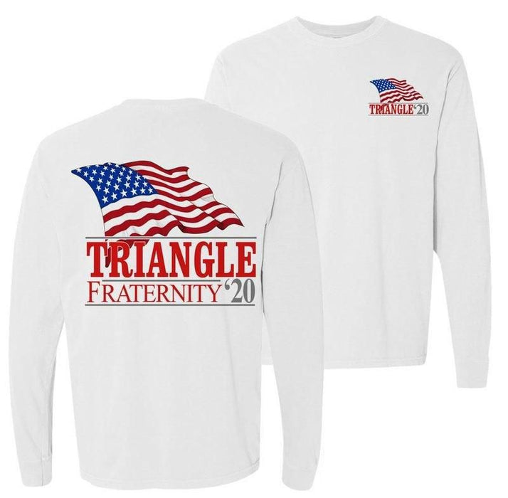 Triangle Patriot Flag Comfort Colors Long Tee