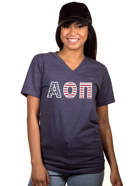 Alpha Omicron Pi All American Unisex V Neck Tee
