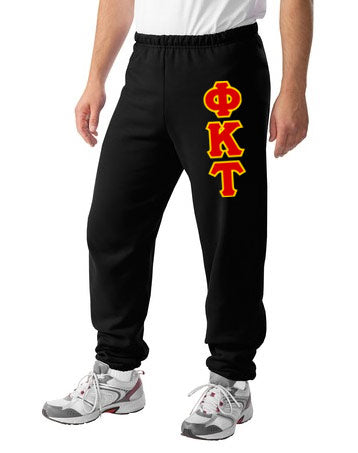 Phi Kappa Tau Sweatpants with Sewn-On Letters