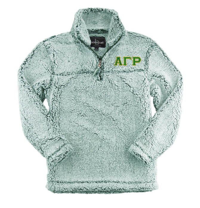 Alpha Gamma Rho Embroidered Sherpa Quarter Zip Pullover