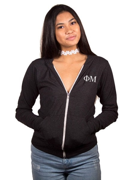 Phi Mu Embroidered Triblend Lightweight Hooded Full Zip