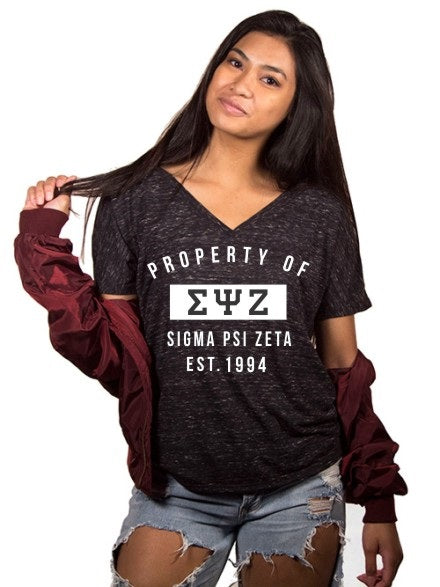 Sigma Psi Zeta Property of Slouchy V-Neck Tee