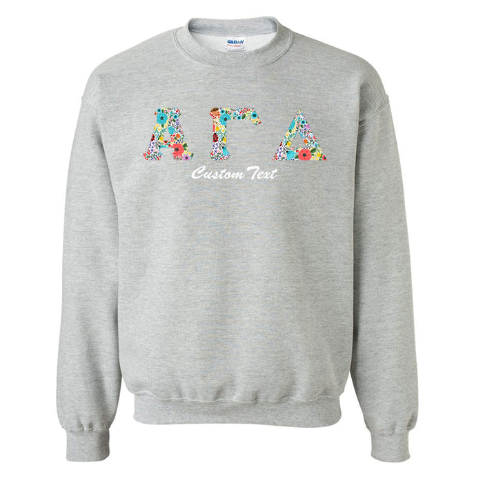 Alpha Gamma Delta Crewneck Letters Sweatshirt with Custom Embroidery
