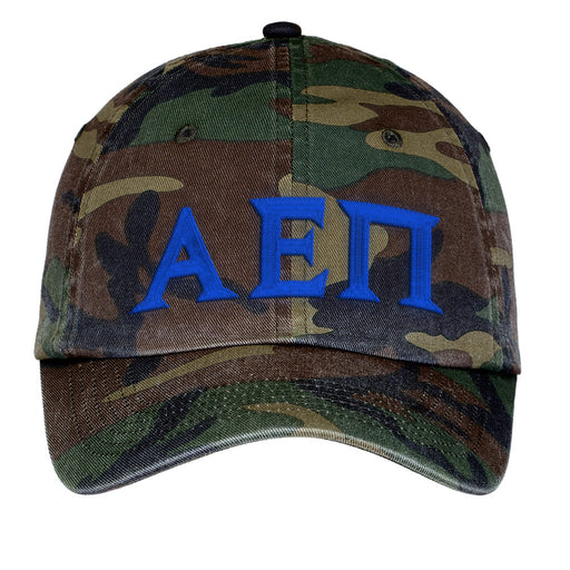 Alpha Epsilon Pi Letters Embroidered Camouflage Hat