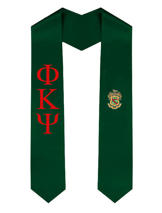 Phi Kappa Psi Lettered Graduation Sash Stole with Crest