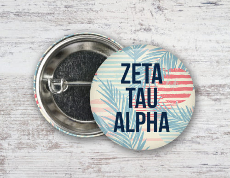Zeta Tau Alpha Paradise Found Button