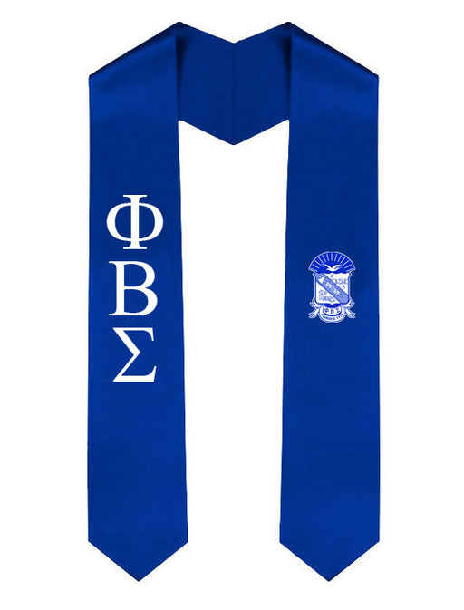 Phi Beta Sigma Lettered Graduation Sash Stole with Crest