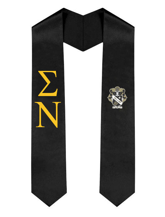 Sigma Nu Lettered Graduation Sash Stole with Crest