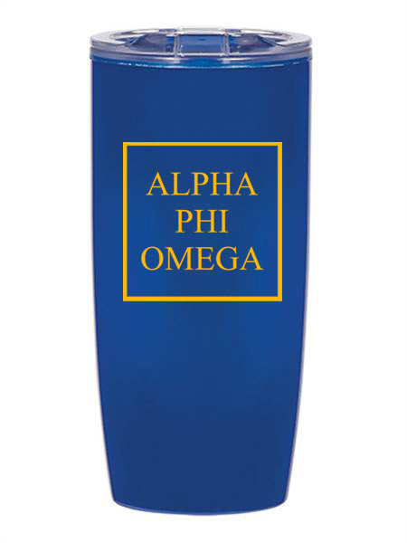 Alpha Phi Omega Box Stacked 19 oz Everest Tumbler