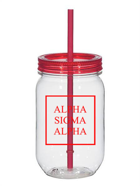 Alpha Sigma Alpha Box Stacked 25oz Mason Jar